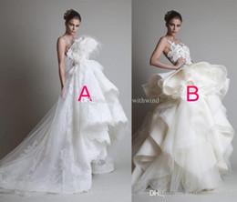 Wholesale Fantasy Appliques - fantasy amazing ball gown ruffles wedding dresses 2017 Krikor Jabotian bateau neckline feather sequin beaded wedding party gowns