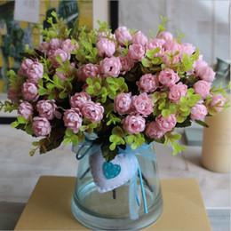 Wholesale Cheap Fake Roses - Wholesale- 1 Bouquet  15 Heads 4cm Vintage Wedding Mini Rose Artificial Silk Flower bouquet Home Decoration Cheap Fake Scrapbooking Flower
