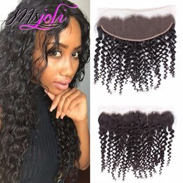 Wholesale Black Deep Wave Lace Closure - Malaysian Human Hair 13x4 Lace Frontal Ear To Ear Closure Deep Wave Curly Hair Natural Black With free Part 6-22 Inches