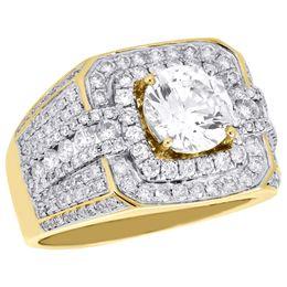 Wholesale Semi Mounts Diamond Rings - 10K Yellow Gold Men's Round Diamond Pinky Ring Solitaire Semi Mount Band 1.82 CT