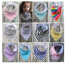 Wholesale scarf bibs - Baby Tassel Bibs Stripe Pompon Infant Burp Cloths Toddler Solid Color Cotton Cartoon Newborn Printed Saliva Towel Triangle Head Scarf J491