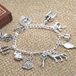 Wholesale Mirror Charm Bracelets - 12pcs Beauty and the Beast inspired bracelet Clock Castle Horse Book Mirror Wolf Crown Key charm bracelet