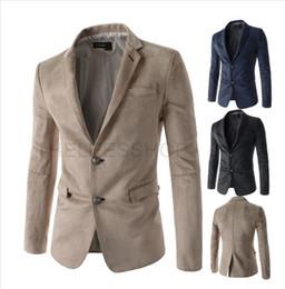 Wholesale Slim Fitting Wedding Dresses - Men's Suede Blazer Spring Casual Slim Fit Thin Jackets Double Button Blazers Male Dress Suit Outwear Wedding Business Coat