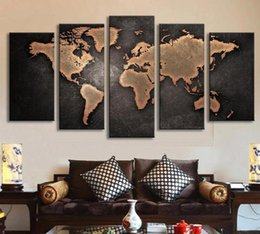 Wholesale World Oil Canvas Panel - Free shipping 5 panel large HD printed oil painting world map canvas print art home decor wall art picture for living room