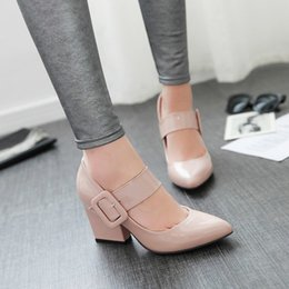 Wholesale Mary Jane Pointed Toe Pumps - Elegant Women High Heeled Shoes Block Party Mary Jane High Heels Girls Prom Clubwear Danc Pumps Pointy Toe Thick with Lady Shoes