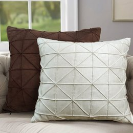 Wholesale Suede For Sofa - 45*45cm grid pattern milky white brown color simple modern suede sofa cushion cover pillow case for sofa pillow covers decor
