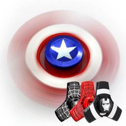 Wholesale Avenger Toys - Captain America Shield Hand Spinner Iron Man Finger Toys Spinner Spiderman Avenger Heros Handspinner Free Shipping 3003103