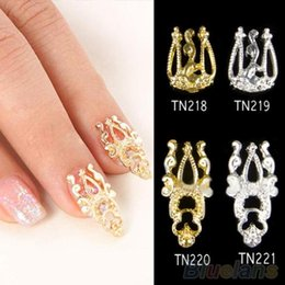 Wholesale Nail 3d Glitter Stickers - Wholesale- 10x 3D Glitter Alloy Hollow Out Nail Art Sticker Slices Charms DIY Nail Jewelry 2K4O