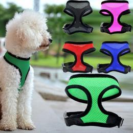 Wholesale Pet Nets - dog net vest collars Pet dog Nylon Mesh Harness Strap Vest Collar mm plus Dog Puppy Comfort back Harness PD016