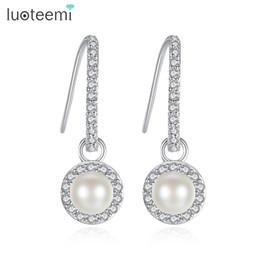 Wholesale Dangling Clear Rhinestone Earrings - Trendy White Gold Color Imitation Pearl Drop Earrings for Woman Sweet Clear Shining CZ Rhinestone Elegant Brincos LUOTEEMI