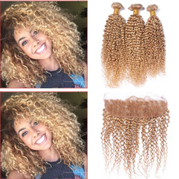 Wholesale Kinky Curly Hair Blonde - #27 Honey Blonde 13x4 Ear to Ear Full Lace Frontal Closure With Strawberry Blonde Kinky Curly Virgin Peruvian Human Hair Bundles 4Pcs Lot