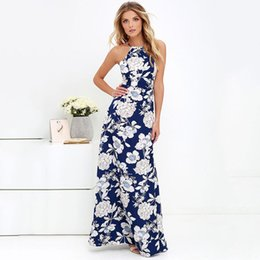 Wholesale Western Style Cotton Dresses - One Piece Shipping New Arrival Western Style Wholesale Floral Printing Summer Long Dress Bohemia Sexy Backless Halter Dress
