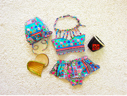 Wholesale Toddlers Bikinis - Baby Girls Swimsuit Kids Retro Pattern Bikini Swimwear Baby Girls Floral Swimsuit Toddler Hat + Top + Pants 3pcs Set