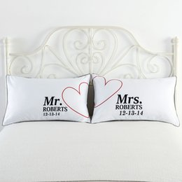 Wholesale Funny Pillow Cases - 74x48cm White Bedding Couples Pillow Case Cushion Cover Set Wifey Hubby Couples Pillow Covers Gift for Funny Wedding Valentines Anniversary