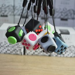 Wholesale Cube World Toys - 11 colors 2017 new fidget cube Keychains the worlds first American decompression anxiety toys Keyring 2.2*2.2cm free shipping