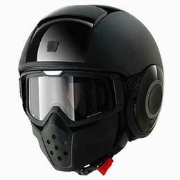 Wholesale Helmets Vintage - Wholesale- Vintage Motorcycle Shark Helmet Goggles Detachable Mask Anti-fog Goggles&Mouth Filter For Open Face Helmet
