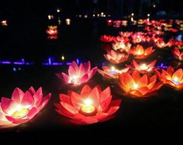 Wholesale Wishing Lamps Wholesale - 20 CM Artificial Lotus Flower Wishing Lamp Silk Lanterns Floating Water Candle Light For Wedding Christmas Party Decorations supplies