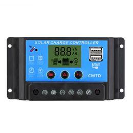 Wholesale Solar Charging Regulator 12v - 10A 12V 24V LCD Solar Charge Controller with Auto Regulator Timer for Solar Panel Battery Lamp LED Lighting Overload Protection