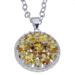 Ciondolo in argento sterling 925 Citrino Morganite Granato Hermosa Gemstone Strass Gioielli donna 1 1/2