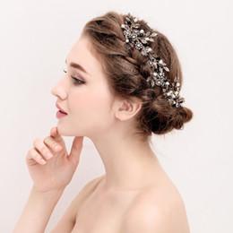 Wholesale Vintage Pearl Wedding Hair Combs - 2017 Vintage Gold Leaf Flower Hair Comb Pearl Bridal Hair Jewelry Handmade Wedding Accessories Combs Women Headwear