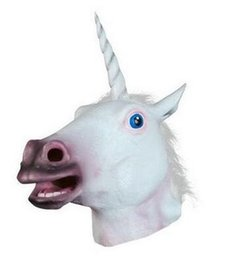 Wholesale Deluxe Halloween Masks - Magical Unicorn Mask Horse Mask Deluxe Latex Animal Mask Party Cospaly Halloween Costume Theater Prop Novelty New Style free shipping