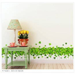Wholesale 3d Flower Wall Decals - L8400 Clovers Flower Fences Baseboard Wall Decals Skirting Line Decals Plant Green Gross Wall Art