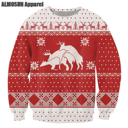 Wholesale Long Christmas Jumpers - Wholesale- ALMOSUN Ugly Christmas 3D All Over Print Crewneck Pullover Sweatshirts Hipster Funny Streetwear Casual Jumper Unisex Dropship