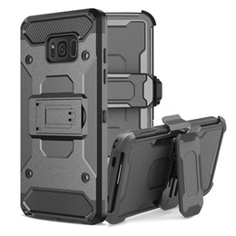 Wholesale Belt Clip S5 - 3 in 1 Hard Case For Samsung Galaxy S5 S6 S7 S8 Plus Edge Kickstand Belt Clip Hoster Defender Rugged Armor