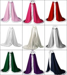 Wholesale Ivory Wedding Capes Cloaks - 2017 Autumn Winter Victorian Style Bridal Capes Navy Blue IVORY Red Satin Faux Fur Trim Wedding Cloaks CPA974