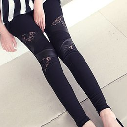 Wholesale Leggings For Cheap - Wholesale- Hot Charming Warm Cheap Lace Leggings Skinny Stretch Pants for Autumn Winter Triangular Lace PU Leather Leggings
