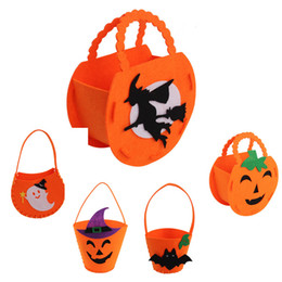 Wholesale Woven Baskets Wholesale - Halloween Pumpkin Candy Bag Trick Treat Cute Smile Basket Face Children Gift Pumpkin bag Handhold Pouch Tote Bag Non-woven IB469