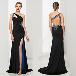 Wholesale Wholesale Black Evening Gowns - Sexy Black Sheath Prom Dresses Satin Crystal One-Shoulder Sleeveless Split Front Criss Cross Straps Sweep Train Evening Gowns