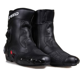Wholesale Motocross Boots Free Shipping - Free shipping Ankle joint protection motorcycle boots Pro-Biker SPEED boots for motorcyle Racing Motocross Boots BLACK RED WHITE