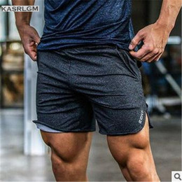 Wholesale Thin Cotton Spandex Shorts - Wholesale- KASRLGM2017 Quality Cotton Muscle Brothers Men Joggers Short Shorts Slim Thin Section Breathable Pockets Mid Straight