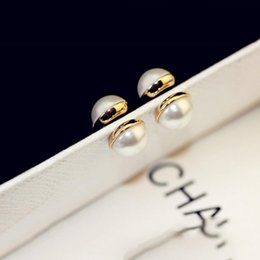 Wholesale Pearl Alphabet - 2017 New 2pcs 1sets No Hole Round Natural pearl stud earrings Magnetic Magnet Earrings For Women Girl Gift Punk loves earrings