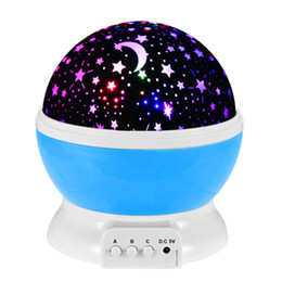 Wholesale Usb Sky - 2016 Newest Rotation LED night light USB DC5V Starry Moon Sky Projector Christmas decoration lights for bedroom