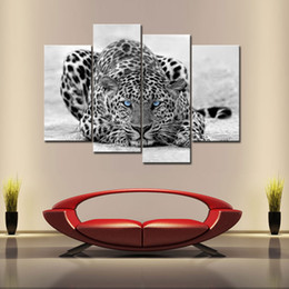 Wholesale Leopard Print Home Decor - 4 Pieces Canvas Painting Black & White Wall Art Painting Blue Eyed Leopard Prints On Canvas With Wooden Framed For Home Decor as Gifts