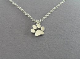 Wholesale Dog Chain Long - 2017 New Choker Necklace Tassut Cat and Dog Paw Print Animal Jewelry Women Pendant Long Cute Delicate Statement Necklaces N191