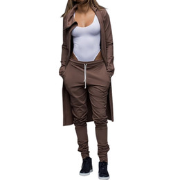 Wholesale womens winter outfits - Wholesale- Women Winter Sexy Club Zipper Jumpsuits High Collar Regular Playsuits Two Piece Outfits Crop Long Skninny Pants Set For Womens