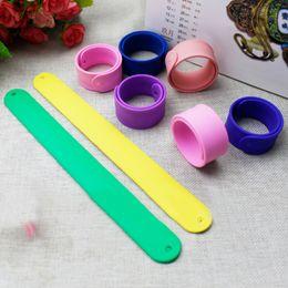 Wholesale Kids Slap Bracelets - Fashion Lovely Colorful Flexible Silicone Slap Snap Wrap Bracelet Wristband Kid Boys Girls Jewelry Gift Free Shipping