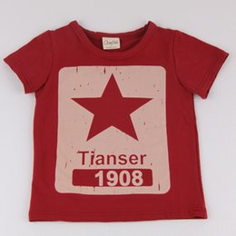 Wholesale Star Shorts Boys - New Kids Boy Star Number O-Neck Red Short Sleeve Cotton Soild Fashion Leisure Summer Breathable Boy T-Shirt