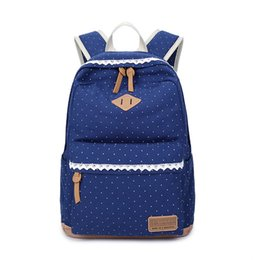 Wholesale Canvas Backpack Pink - 2017 new Printed canvas bag backpack Middle school student bag Dot and Lace Women's backpack H1090