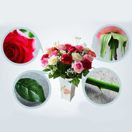 Wholesale Hot Pink Silk Flowers - Hot Sale Rose Fake Artificial Silk Flower Wedding Party Bridal Bouquet Home Decor E00593 SMAD