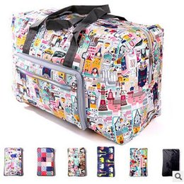 Wholesale Hand Carry Cartoon - 17 Colors Travel Duffel Bags Large Capacity Shoulder Bags Foldable Waterproof Bag Hand Carry Storage Bag Luggage Organizer CCA6018 20pcs