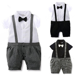 Wholesale Boys Romper Bow Tie - Baby Gentleman Suit Boys Romper Bow Tie Suits New Spring Summer Jumpsuit Newborn Costume Infant Clothes Roupas JY0224