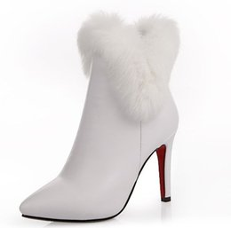 Wholesale Ladies White Wedding Boots - 2017 superstar white boots shoes woman lady thin high heels point toes rabbit fur wedding party ankle fashion boots