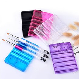 Wholesale Nail Art Uv Gel Pen - New Transparent Nail Brush Pen Holder Stand Base UV Gel Nail Art Brushes Display Rest Beauty Manicure Tools Equipment 2017 Hot