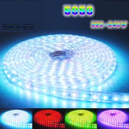 Wholesale High Voltage Rgb Controller - High Voltage RGB Led Strips 110V 220V 50M SMD5050 Lights Waterproof with IR Remote Controller Advertisement Christmas Decorative Lighting