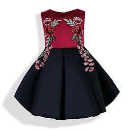 Wholesale Rose Print Skirt - Kids Clothing Girls Dresses Elegant Tutu Skirt Sleeveless Rose Red Flower Printed Children Kid Girl Clothing
