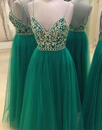 Wholesale Nude Sparkly Dresses - Dark Green A Line Evening Dresses with Crystal Beaded Spaghetti Straps Prom Dresses Sparkly V Neck Backless Formal Evening Dresses 2017